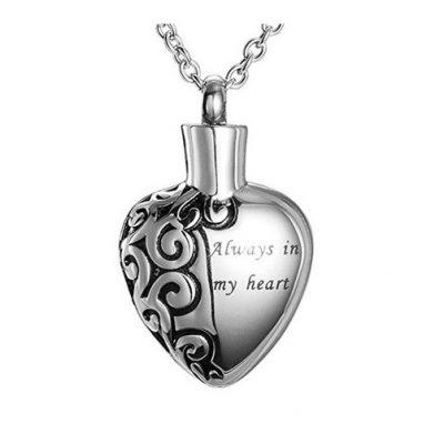 hartvormige ashanger met tekst rvs