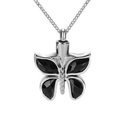 ashanger vlinder met zwarte stenen te koop rvs