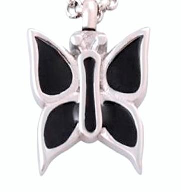 ashanger zwarte vlinder emaille rvs