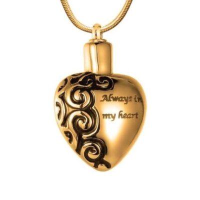 goudkleurige ashanger always in my heart kopen