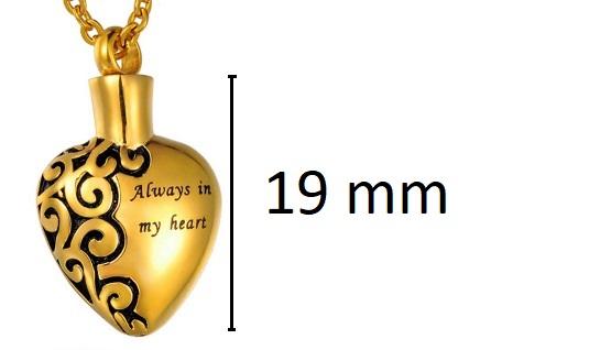 goudkleurige ashanger always in my heart te koop